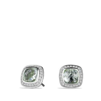 Albion® Earrings with Prasiolite and Diamonds, 7mm