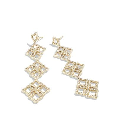 Venetian Quatrefoil Triple-Drop Earrings with Diamonds in Gold