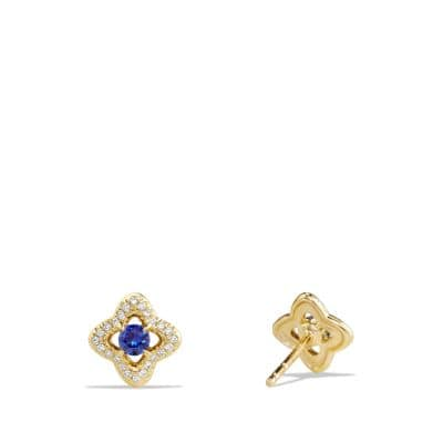 Venetian Quatrefoil® Earrings with Blue Sapphires and Diamonds in 18K Gold