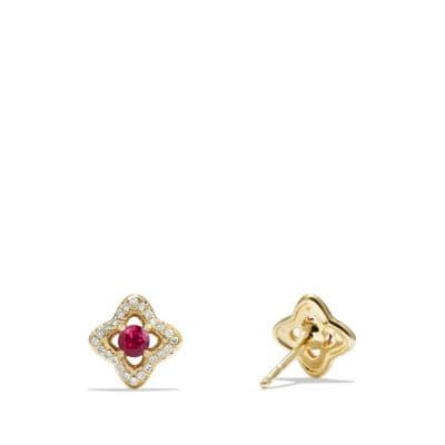 Venetian Quatrefoil® Earrings with Rubies and Diamonds in 18K Gold