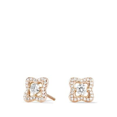 Venetian Quatrefoil Earrings with Diamonds in Rose Gold