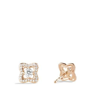 Venetian Quatrefoil Earrings with Diamonds in 18K Rose Gold