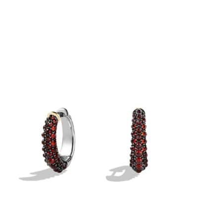 Osetra Hoop Earrings with Garnet and 18K Gold