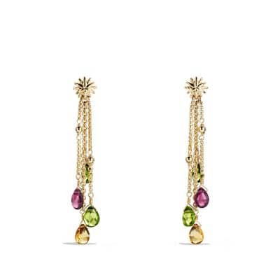 Bijoux Drop Earrings with Peridot, Citrine and Rhodalite Garnet in 18K Gold