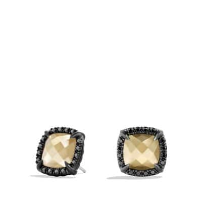 Earrings with 18K Gold Dome and Black Diamonds