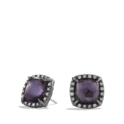 Chatelaine Stud Earrings with Black Orchid and Gray Diamonds