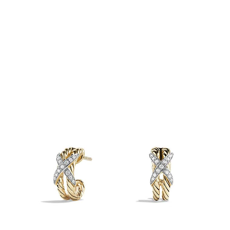 X Double Cable Hoop Earrings With Diamonds In 18k Gold