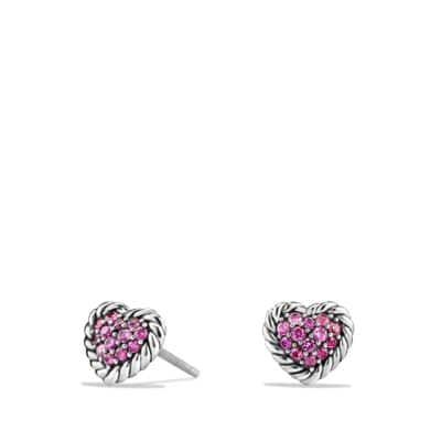 Heart Earrings with Pink Sapphire