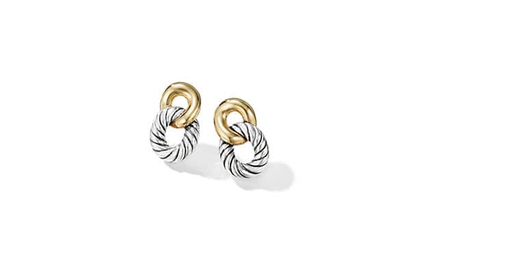 Belmont Curb Link Drop Earrings with 18K Gold