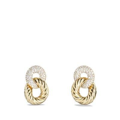 Belmont Curb Link Drop Earrings with Diamonds in 18K Gold
