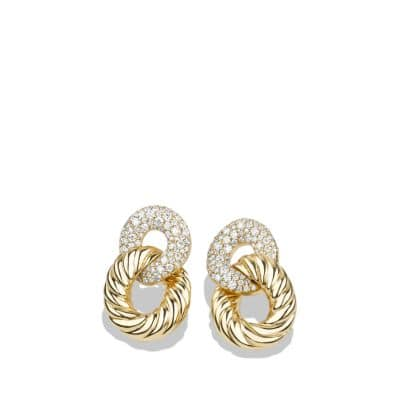 Belmont® Curb Link Drop Earrings with Diamonds in 18K Gold