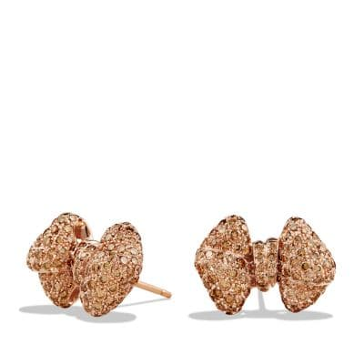 Bow Earrings with Diamonds in 18K Rose Gold