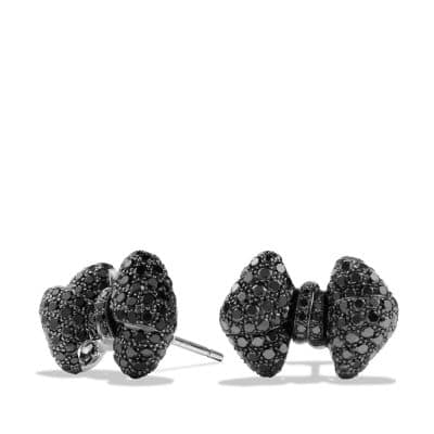 Bow Earrings with Black Diamonds in 18K White Gold