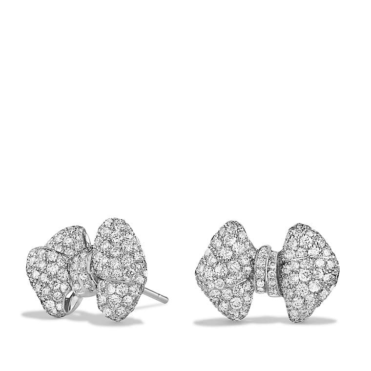 Signature Bow Earrings with Diamonds in 18K White Gold