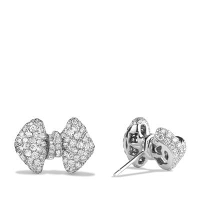 DY Signature Bow Earrings with Diamonds in 18K White Gold
