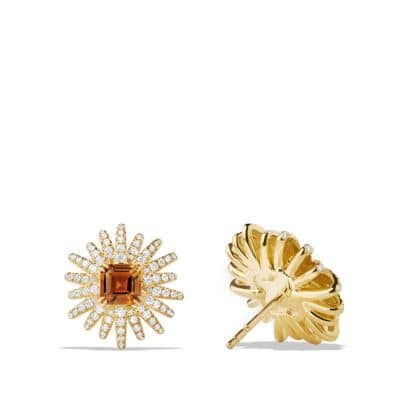 Starburst Earrings with Madiera Citrine and Diamonds in 18K Gold, 19mm