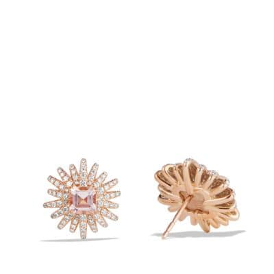 Starburst Earrings with Diamonds and Morganite in 18K Rose Gold, 19mm