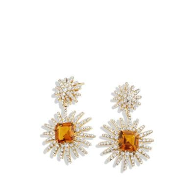 Starburst Drop Earrings with Madeira Citrine and Diamonds in 18K Gold