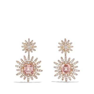 Starburst Drop Earring with Morganite and Diamonds in 18K Rose Gold