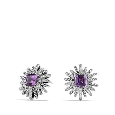Starburst Earrings with Diamonds and Amethyst in Silver, 19mm