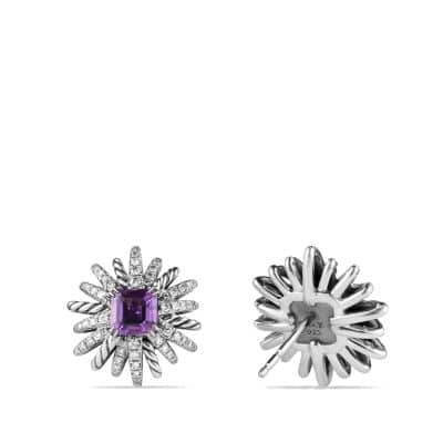 Starburst Earrings with Amethyst and Diamonds, 19mm