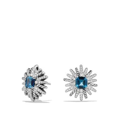 Starburst Earrings with Hampton Blue Topaz and Diamonds, 19mm