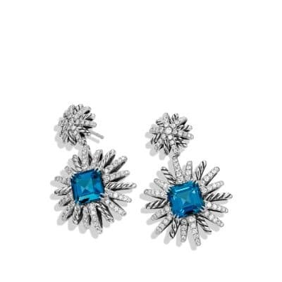 Starburst Earrings with Diamonds and Hampton Blue Topaz in Silver