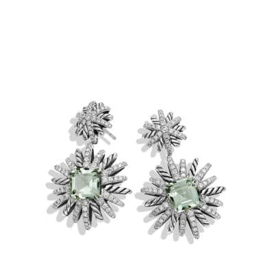 Starburst Drop Earrings with Prasiolite and Diamonds