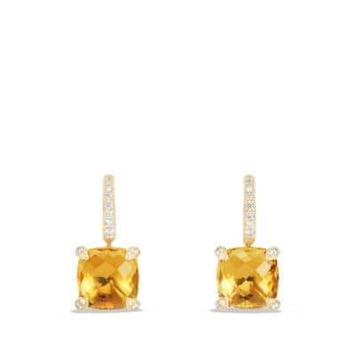 Châtelaine® Drop Earrings with Citrine and Diamonds in 18K Gold