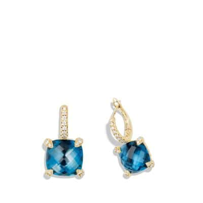 Drop Earrings with Hampton Blue Topaz and Diamonds in 18K Gold
