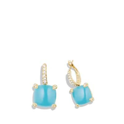 Chatelaine® Drop Earrings with Turquoise and Diamonds in 18K Gold