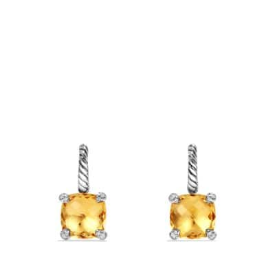 Châtelaine Drop Earrings with Citrine and Diamonds