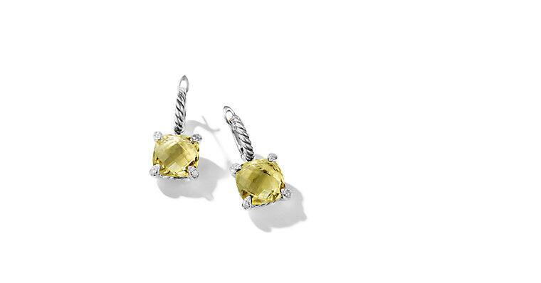 Châtelaine® Drop Earrings with Lemon Citrine and Diamonds
