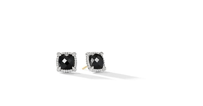 Chatelaine® Pavé Bezel Earring with Black Onyx and Diamonds, 9mm