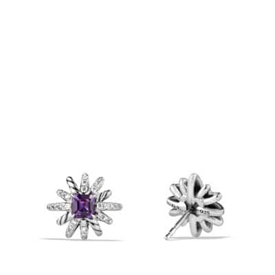 Starburst Earrings with Diamonds and Amethyst in Silver, 12mm