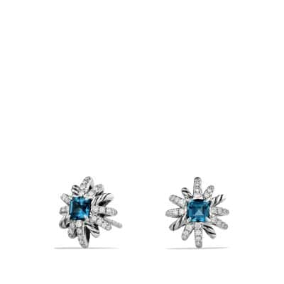 Starburst Earrings with Hampton Blue Topaz and Diamonds, 12mm