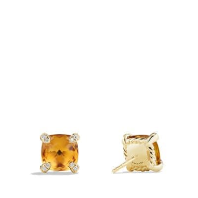 Châtelaine® Earrings with Citrine in 18K Gold, 8mm