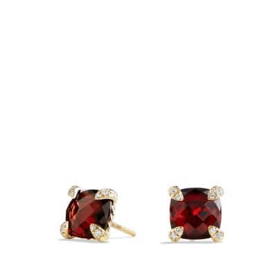 Châtelaine® Earrings with Garnet in 18K Gold, 8mm
