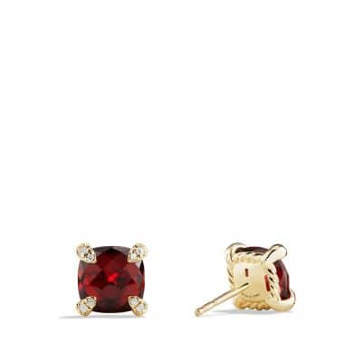 Châtelaine Earrings with Garnet in 18K Gold, 8mm