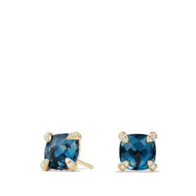 Châtelaine® Earrings with Hampton Blue Topaz in 18K Gold, 8mm thumbnail