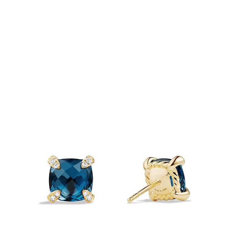 Châtelaine® Earrings with Hampton Blue Topaz in 18K Gold, 8mm