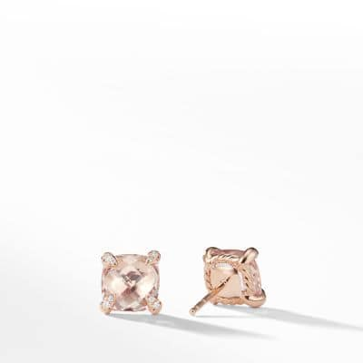 Chatelaine® Stud Earrings with Morganite and Diamonds in 18k Rose Gold, 8mm