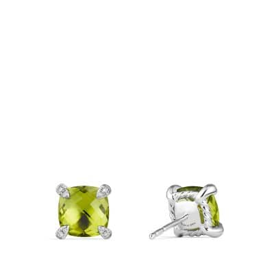 Chatelaine Stud Earring with Peridot and Diamonds in 18K White Gold, 8mm