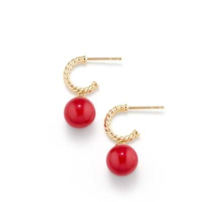 Solari Hoop Earrings with 18K Gold and Red Enamel
