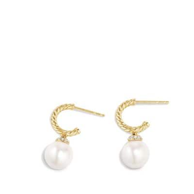 Solari Hoop Earring with Diamonds and Pearls in 18K Gold
