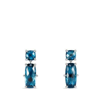 Chatelaine Double Drop Earrings with Hampton Blue Topaz and Diamonds