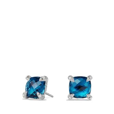 Châtelaine Earrings with Hampton Blue Topaz and Diamonds, 9mm