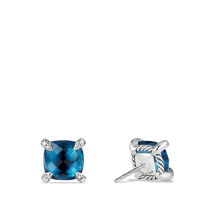 Châtelaine® Earrings with Hampton Blue Topaz and Diamonds, 9mm