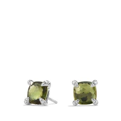 Earrings with Green Orchid and Diamonds, 9mm