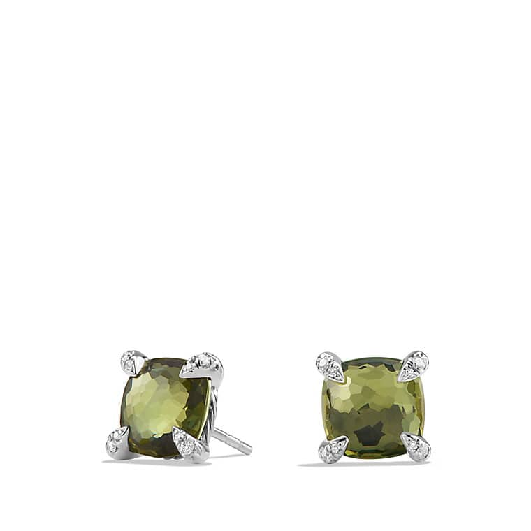 Châtelaine® Earrings with Green Orchid and Diamonds, 9mm